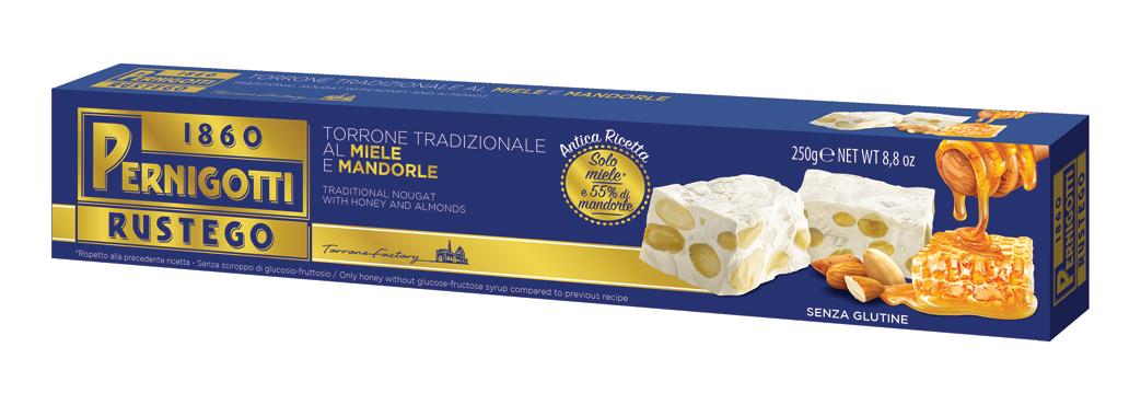 Torrone Rustego mandorla solo miele Pernigotti 250 g