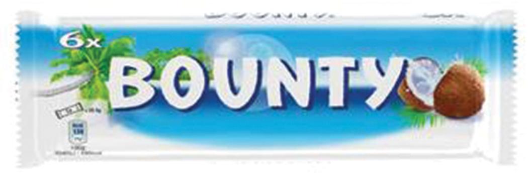 Twix 150 g/Bounty 171 g/Snickers 200 g/Mars 270 g
