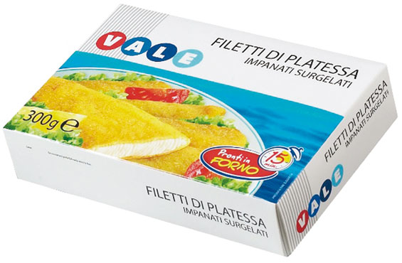 Filetti di platessa/merluzzo impanati Vale 300/400 g