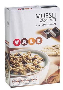 Muesli croccante cioccolato/nocciola-uvetta Vale 375 g