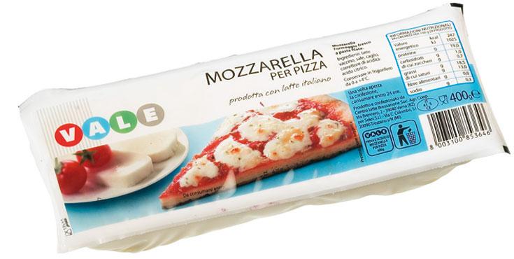 Mozzarella per pizza Vale 400 g