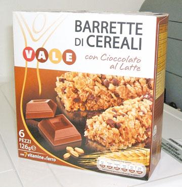 Barrette cereali vari gusti Vale 126 g