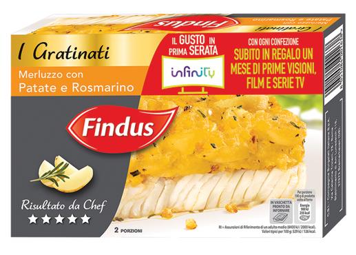 Filetti merluzzo gratinati Findus vari tipi 380 g