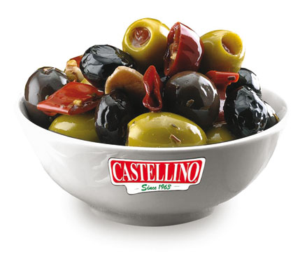 Mix di olive piccanti/Olive verdi farcite alle mandorle Castellino al kg