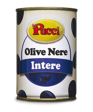Olive nere intere/snocciolate Pucci lattina 400 g