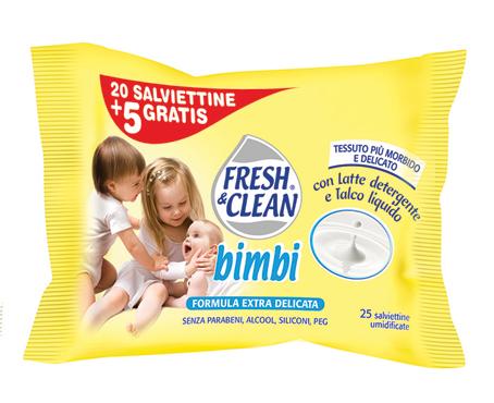 Salviettine umidificate Fresh & Clean bimbi x 20