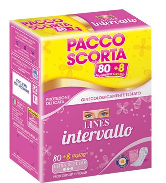 Salva slip Intervallo Ripiegato Lines 40 + 4 pacco x 2