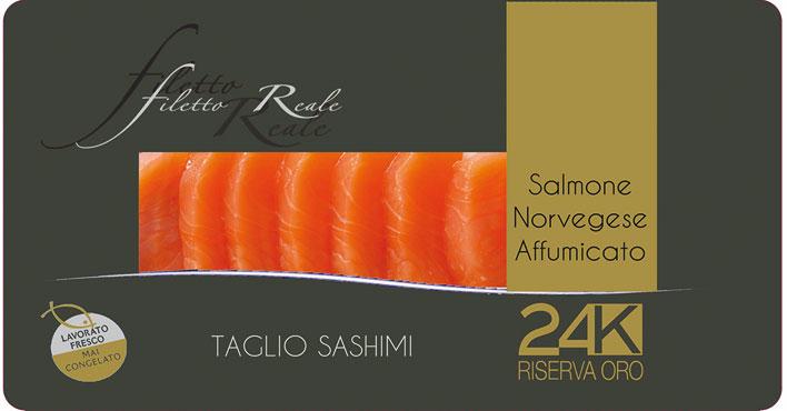 Filetto reale di salmone norvegese affumicato taglio sashimi 100 g