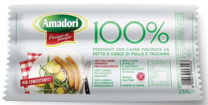 Wurstel 100% suino/pollo-tacchino Amadori 250 g