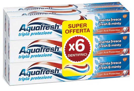Dentifricio Acquafresh tripla protezione 6 x 75 ml