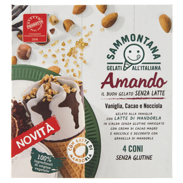 Cono Amando s/glutine Sammontana x 4 300 g/Stecco Amando frutta s/lattosio Sammontana 330 g