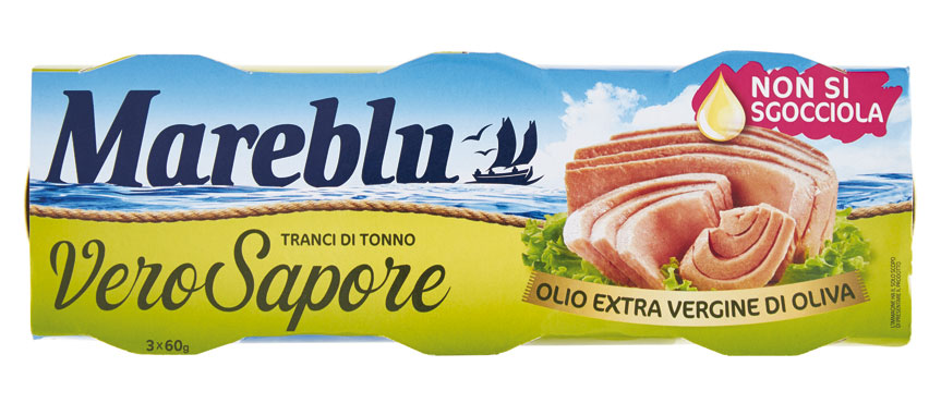 Tonno Mareblu Leggero/Vero sapore/Meno Olio/Natutale 3 x 60 g