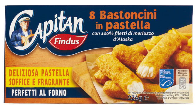 Bastoncini merluzzo Omega3/Pastellati x8 Findus 250/224g