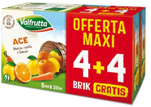Succhi e nettari Valfrutta assortiti 4+4 omaggio x 20 cl
