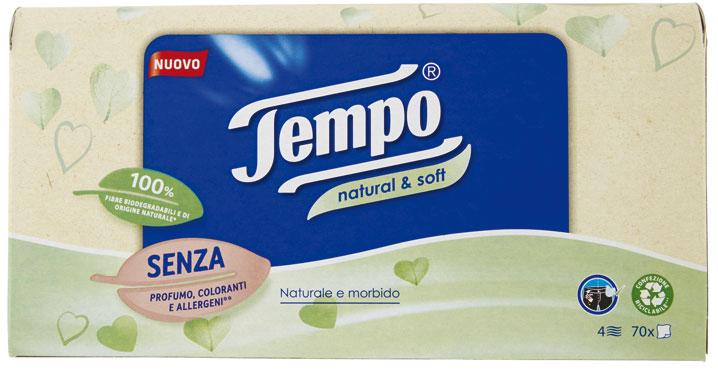 Fazzoletti Tempo Natural&Soft pacchetto 10x9/box da 70