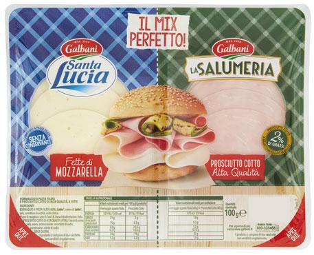 Mix Santa Lucia prosciutto crudo/prosciutto cotto a.q. Galbani 100 g