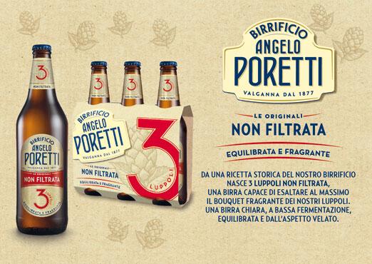 Birra Poretti 3 luppoli non filtrata 66 cl