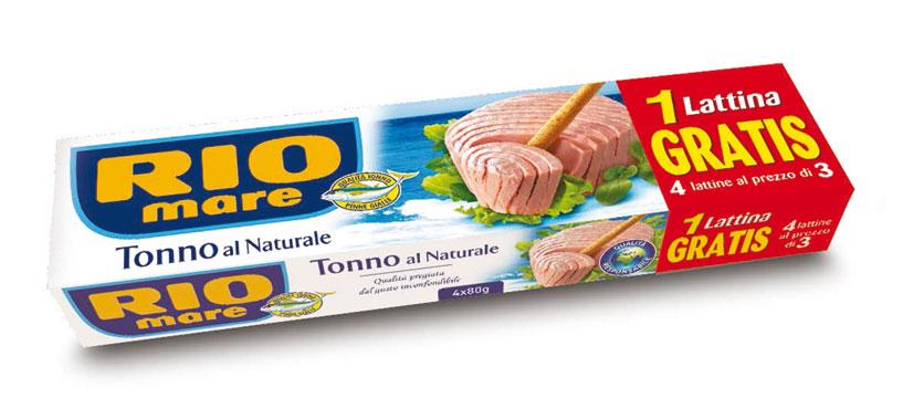 Tonno Rio Mare supernatural 3x56g+1 omaggio/natural 3x80 g+1 omaggio