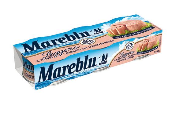 Tonno Mareblu Leggero/Vero sapore/Meno Olio/Naturale 3x60g