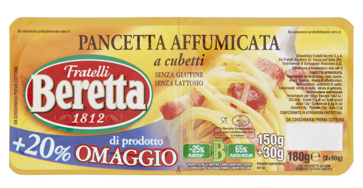 Cubetti di pancetta Beretta vari tipi 150 g+30 g omaggio